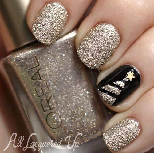 #christmas #nails #uñas #navideñas dorado
