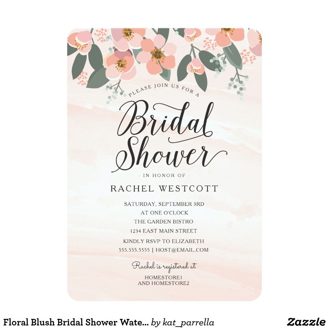 Floral blush bridal shower watercolor pink card engagement and wedding