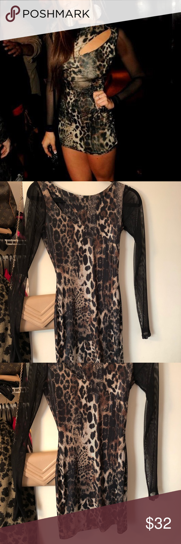 d73f7384476 Leopard   Cheetah Print Dress w  Sheer Sleeves - S Leopard   Cheetah Print  Stretchy Bodycon Mini Dress with Sexy Sheer Sleeves!