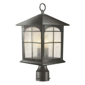 Post Light! Hampton Bay 3 Light Outdoor Aged Iron Post Lantern Y37031