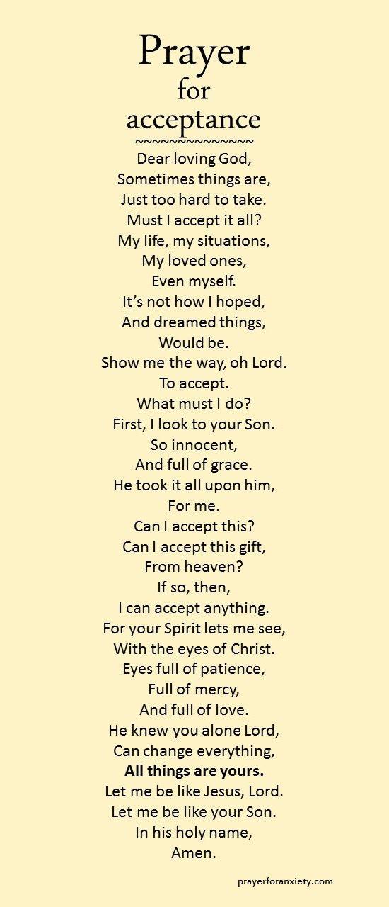 Prayer for acceptance   Trust god   Faith prayer, Prayer verses