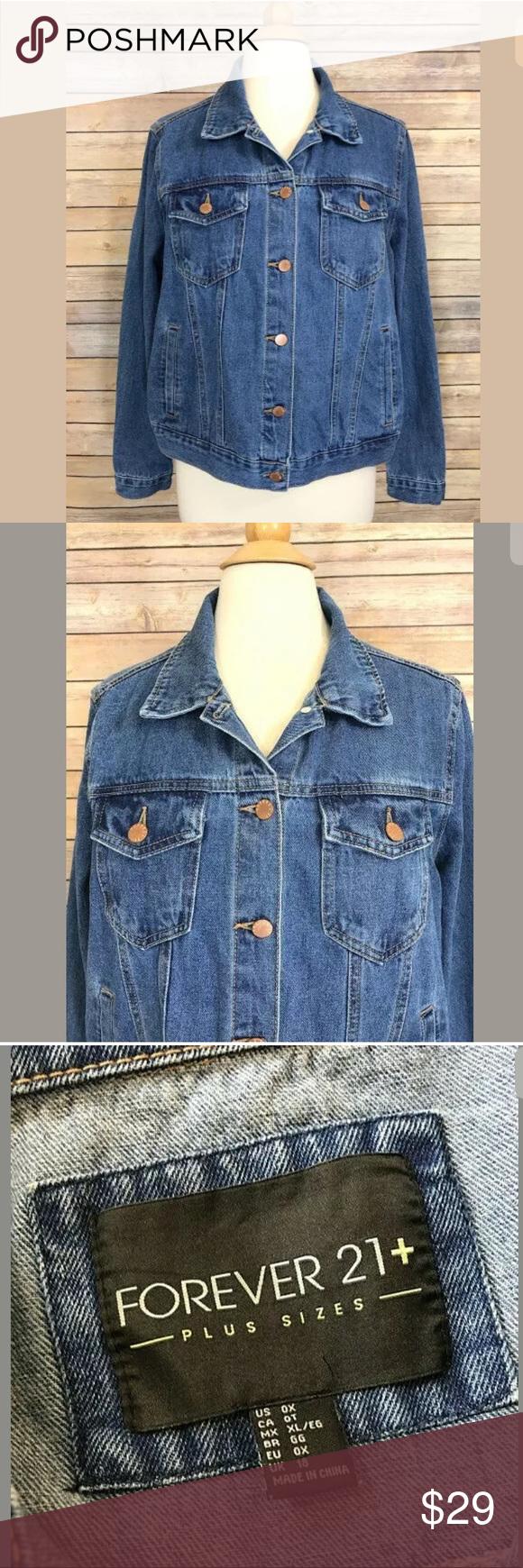 7a8b28fadd7 Forever 21 + Denim Blue Jean Jacket Plus Size 0X Forever 21 + Jean Jacket  Women s Plus Size 0X 100% Cotton Denim Button down front Length   23