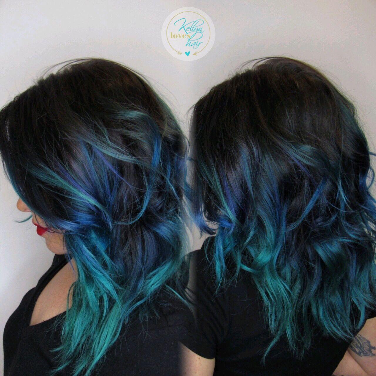 Black, blue, teal vivid hair color melt - by Kellyn at Bow ...