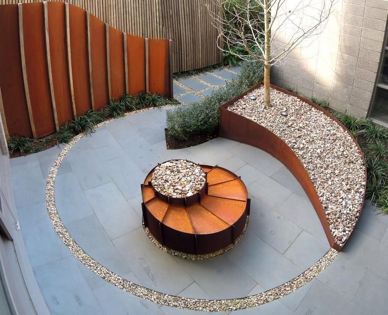 Sichtschutzzaun Metall Rund Gartengestaltung Cortenstahl Zaun