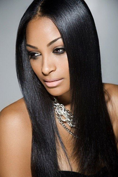 Straight hair black girl