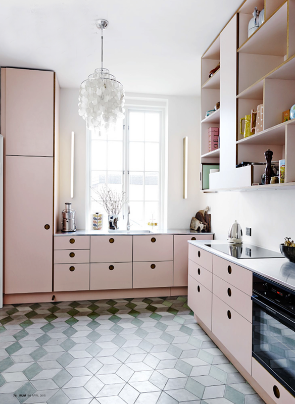 The Best Ideas For Updating Your Kitchen Floor With Tiles Domino Pink Kitchen Cabinets Kitchen Cabinet Colors Pink Kitchen