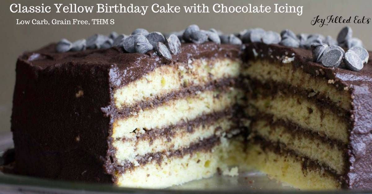 This Classic Yellow Birthday Cake with Chocolate Icing looks just