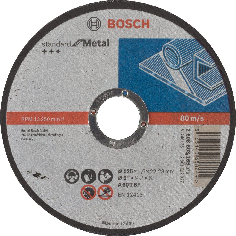 Disque Pour Metal Bosch Diam 125 X 1 6 X 22 Mm 2608603165 Bosch Disque Diamant