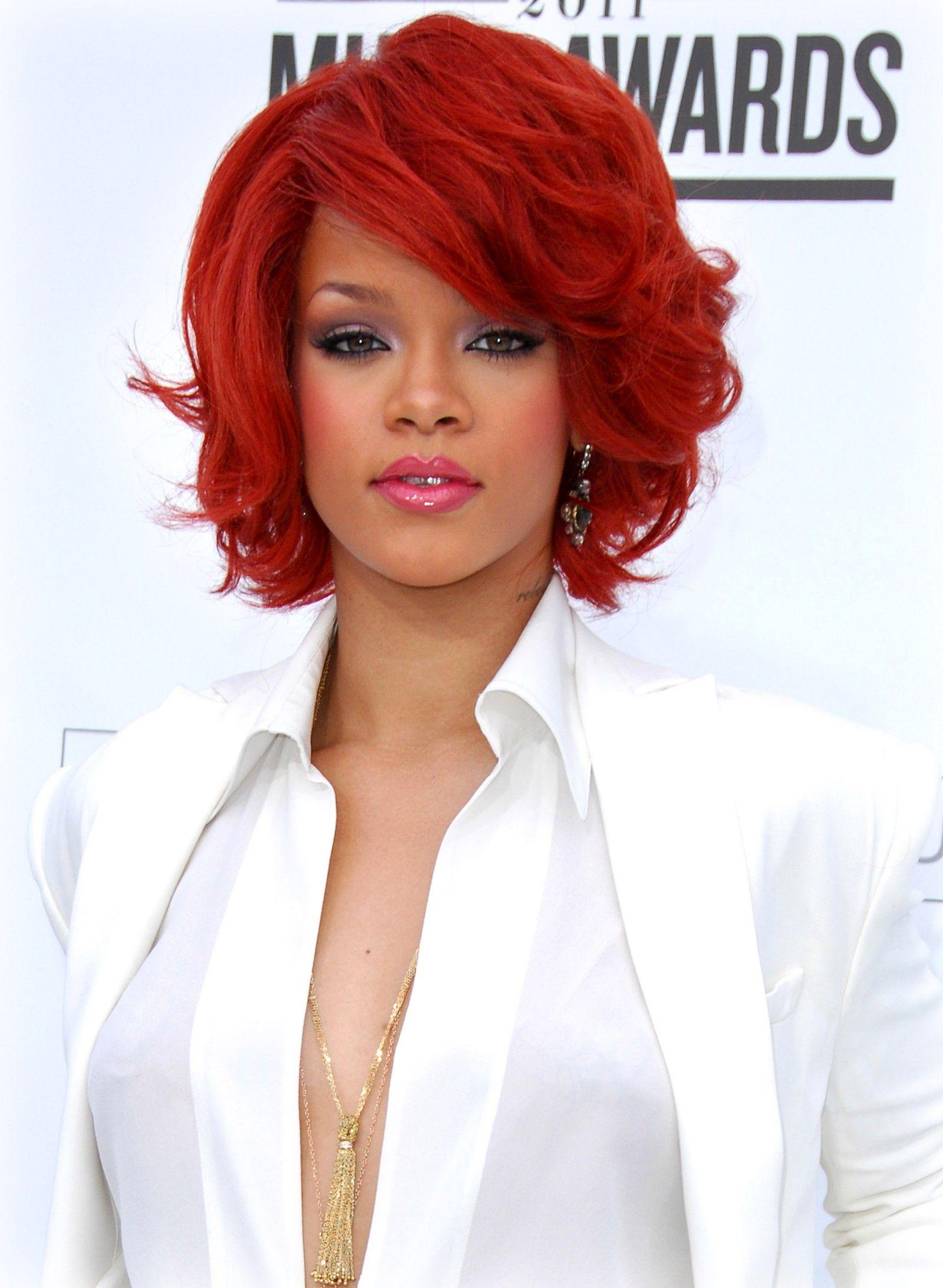 rihanna. red hair love. | Rihanna hairstyles, Rihanna red