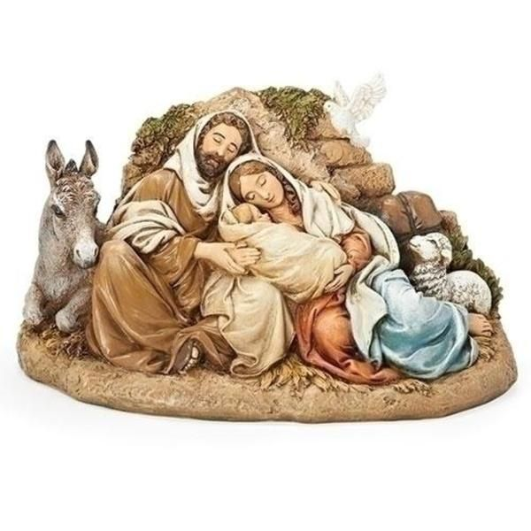 Boxed Holy Family in Stable Christmas Ornament NEW