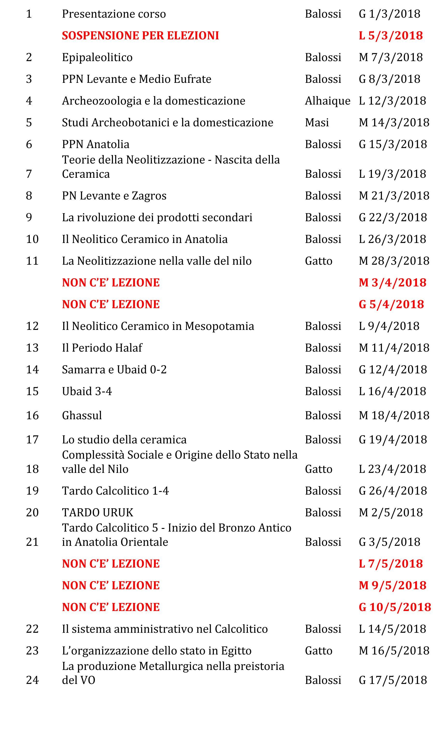 Calendario Lezioni