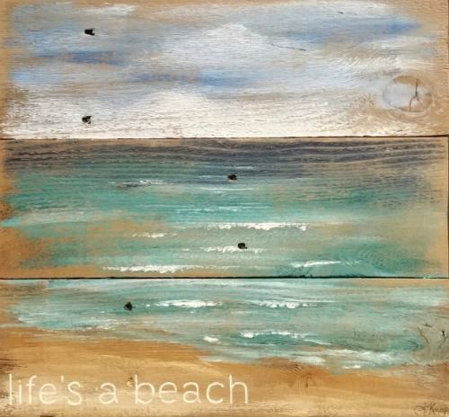Coastal Ocean Beach Art Prints On Rustic Wood Beach Art Prints Beach Painting Beach Art