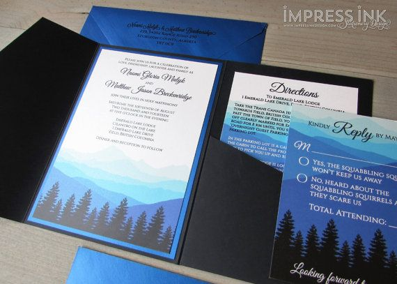 Ombre Mountains Wedding Invitation Sample Flat or Pocket Fold Style