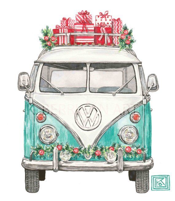 Christmas VW art print, christmas, holiday watercolor painting, volkswagen, vintage, classic car, archival print, volkswagen van, vw van