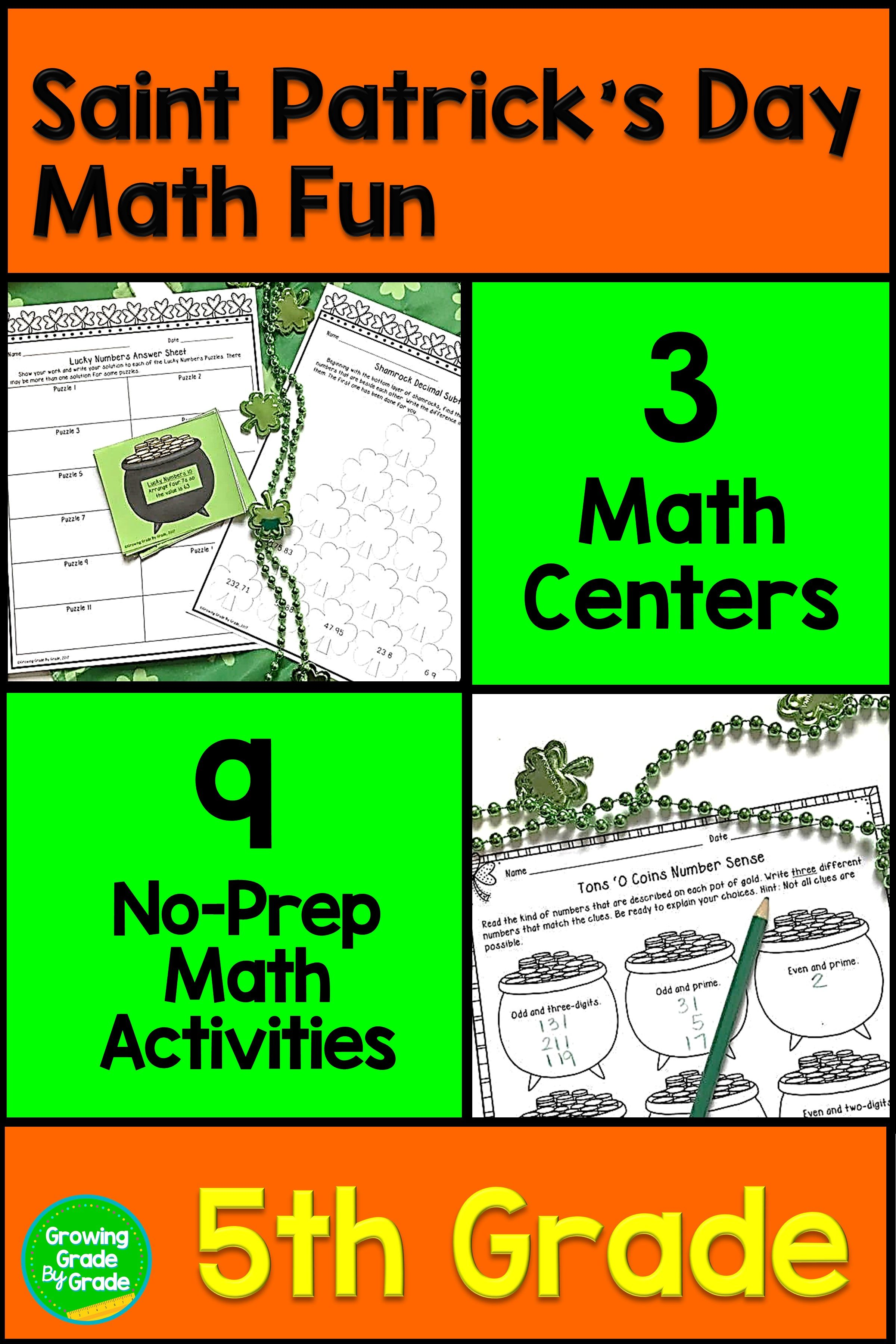 St Patrick S Day Math Centers And Activities