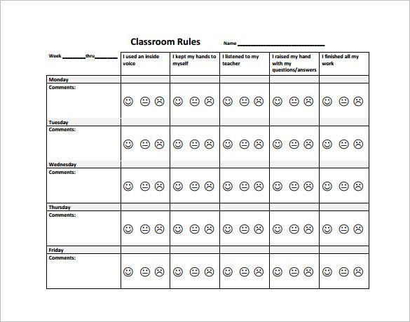 Behavior Chart Template \u2013 11+ Free Word, Excel, PDF Format Download