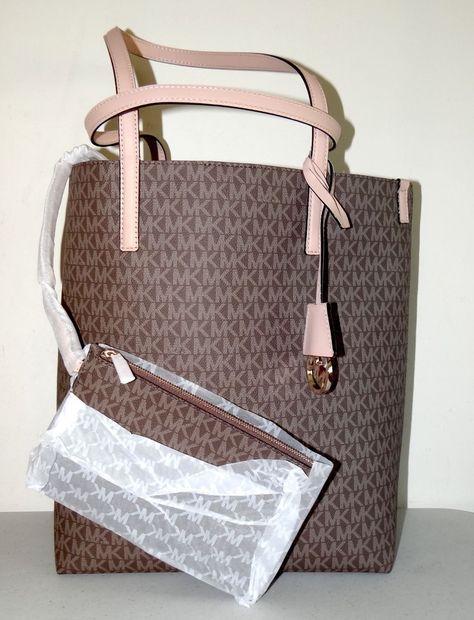7313a40dae6e Michael michael kors hayley large mocha mk logo tote bag | Leather ...