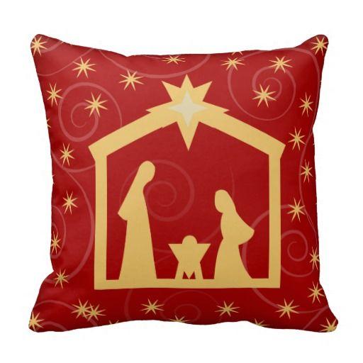Red Starry Night Nativity Christmas Pillow Bendel Zazzle