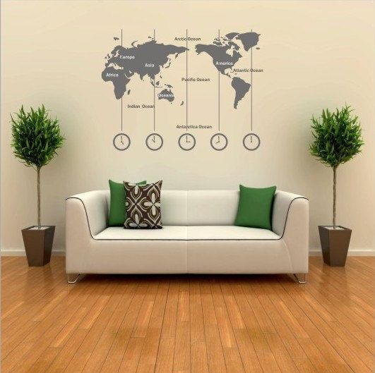 Vinyl world map wall decal time wall art clock by customwalldecal vinyl world map wall decal time wall art clock by customwalldecal gumiabroncs Images