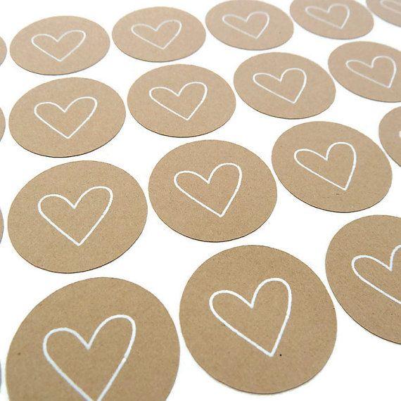 Heart sticker 80 count kraft sticker round sticker white ink heart