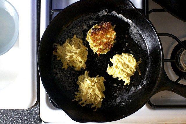 frying the latkes