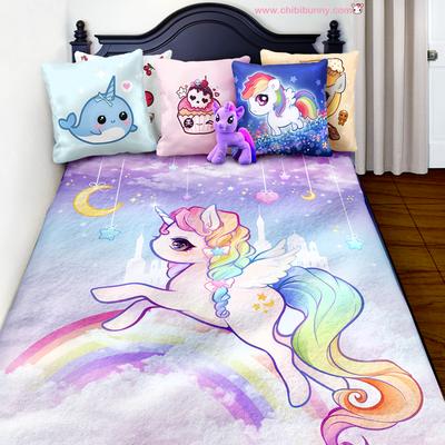 Pastel rainbow unicorn - Cute kawaii fleece blanket - FB11 ? Chibi ...