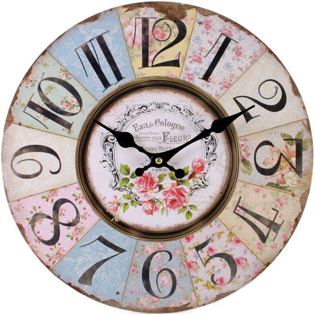 Shabby Chic Pastel Pink Floral Wall Clock Rustic Wall Clocks