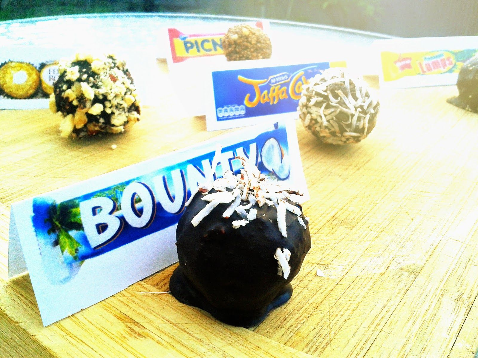 Bliss Balls  - Bounty Bar, Forrero Rocher, Jaffa, Picnic and Pineapple Lumps. By: Fit Foodie Freedom