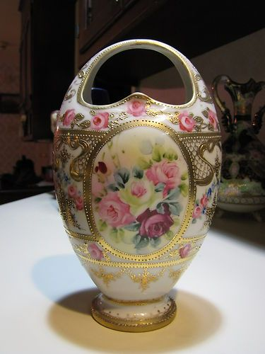 Antique Nippon Vase Moriage Hand Painted Roses Marked 9 Tall Hand