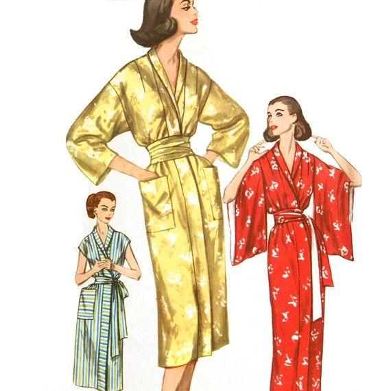 1950s Kimono Robe Sewing Pattern - Simplicity 2467 Bust 40 / XL ...