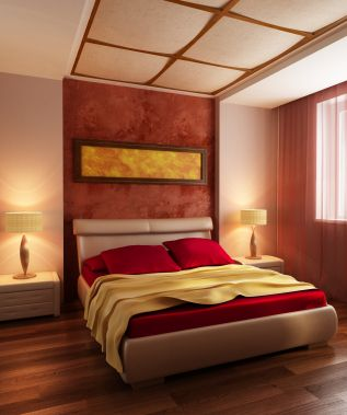 Red yellow orange themes Red and yellow bedroom decor Ceiling