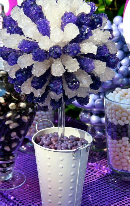 Purple white silver rock candy centerpiece by
