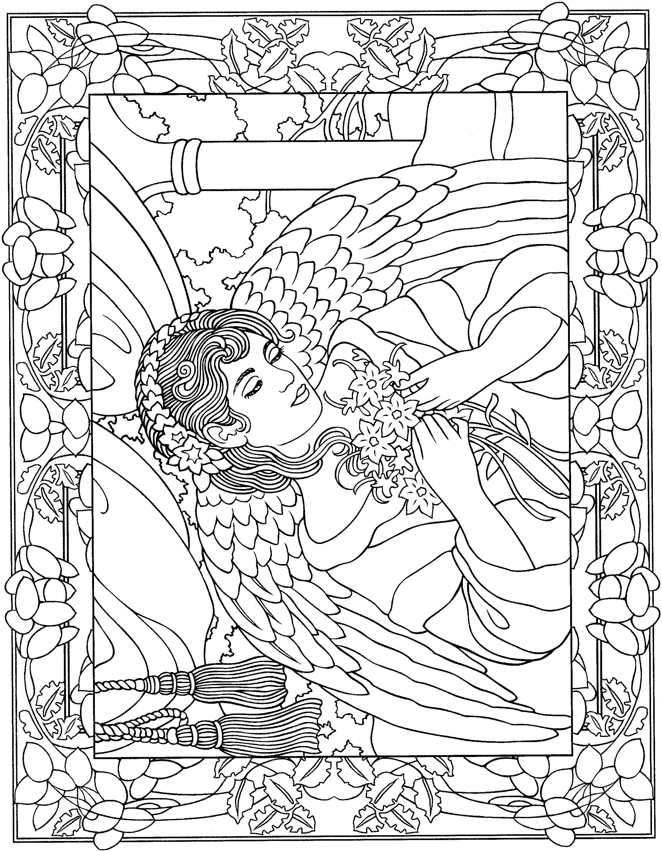 Beautiful angel coloring page | angeles | Pinterest | Angel, Adult ...
