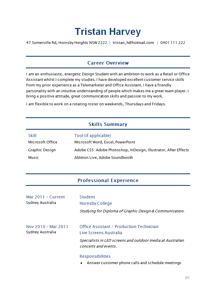 image result for simple student resume