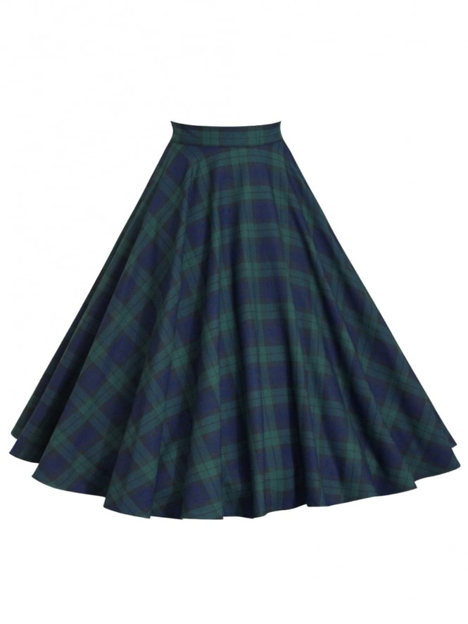 1950s Circle Skirt Blue Green Tartan Check All Sizes Rockabilly Vintage 40s
