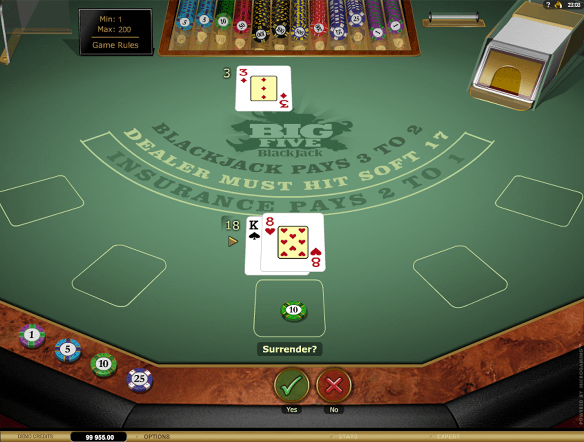Chose to play the Big 5 Blackjack Gold from Microgaming