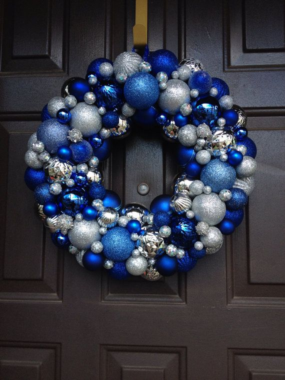 Beautiful blue and silver Christmas Ornament Wreath shatterproof ornaments on Etsy, $45.00
