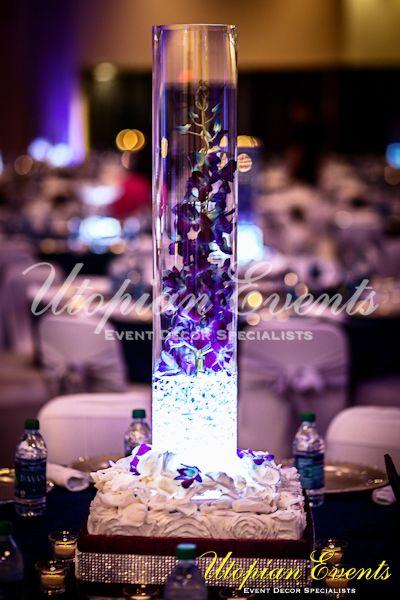 Reception decor cylinder floral glass centerpiece