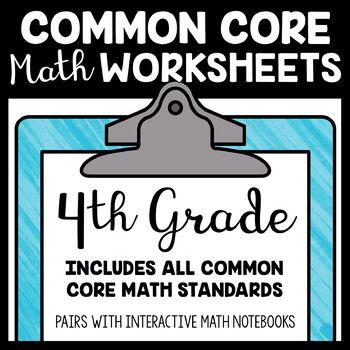 Common Core Math Worksheets 4th Grade Math Worksheets Maths