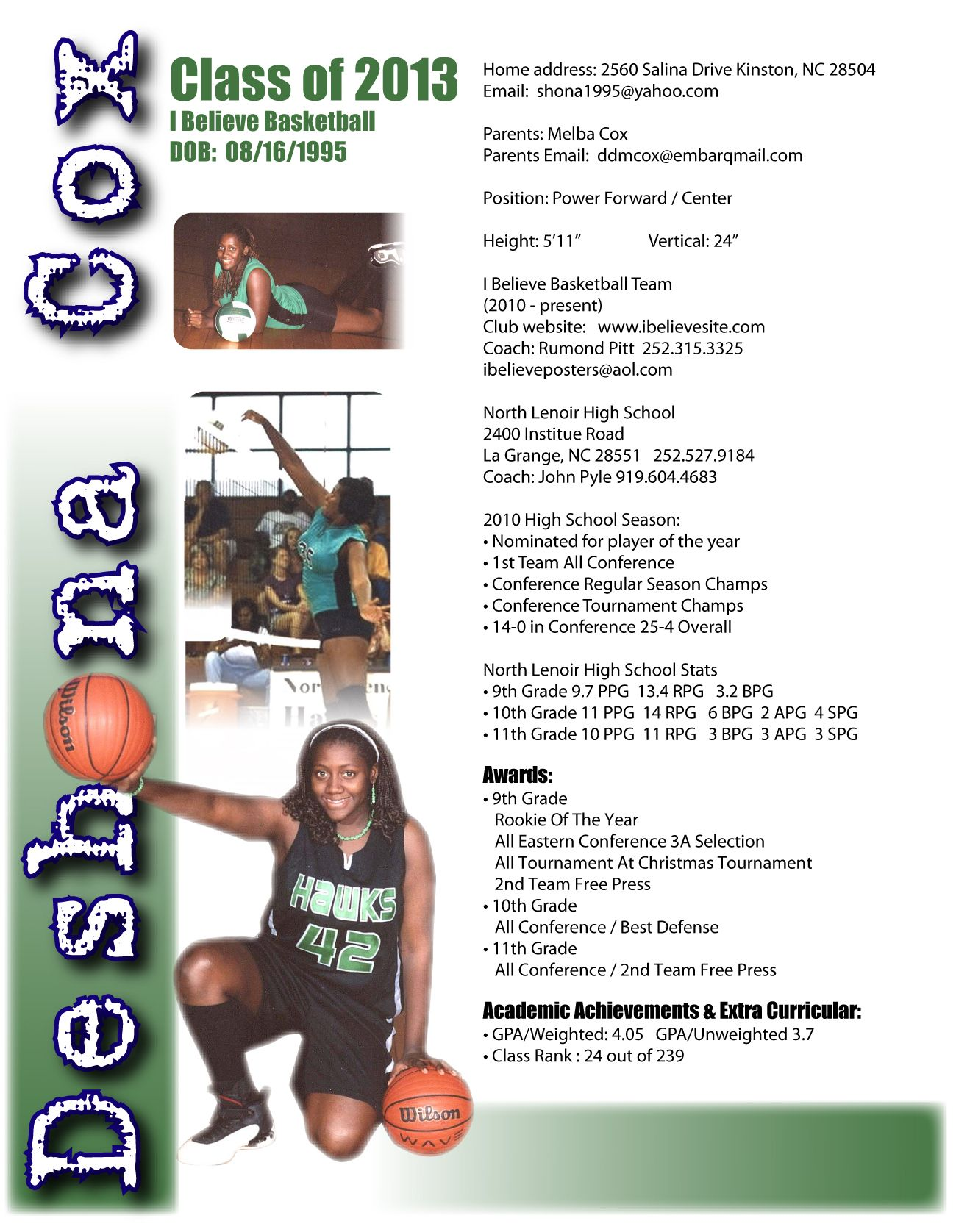 Deshona Sports Resume | Sports Resumes/Recruiting Flyers | Pinterest
