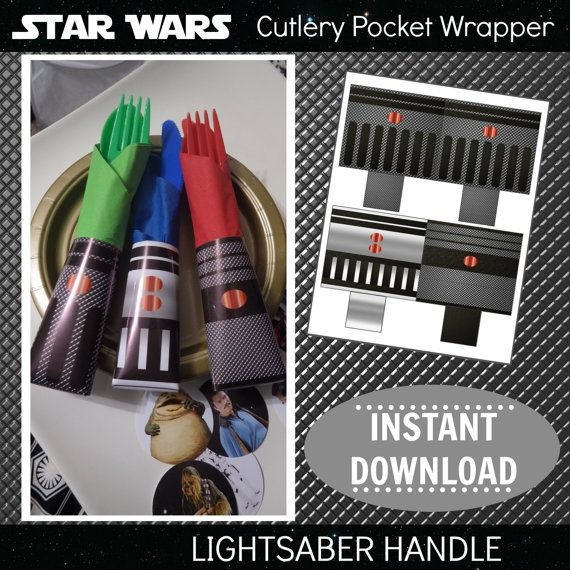 picture regarding Lightsaber Printable referred to as Star Wars Printable Cutlery Pocket Wrappers Napkin Rings