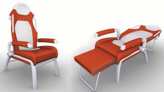 This waiting room chair can transform into a hospital bed just doesnu0027t look that good but is practical  sc 1 st  Pinterest & This waiting room chair can transform into a hospital bed just doesn ...