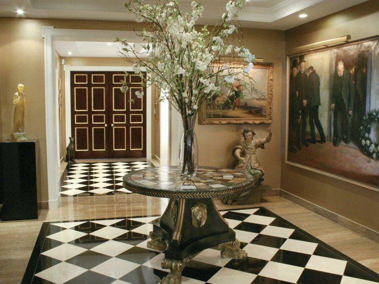 Association carrelage noir blanc parquet et table en marbre | Carrelage noir et blanc ...