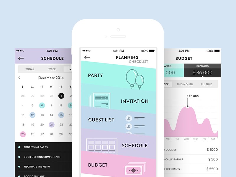 Wedding Planning App.Wedding Planner Ui Ux Mobile Mobile Ui Design Planning App Ui