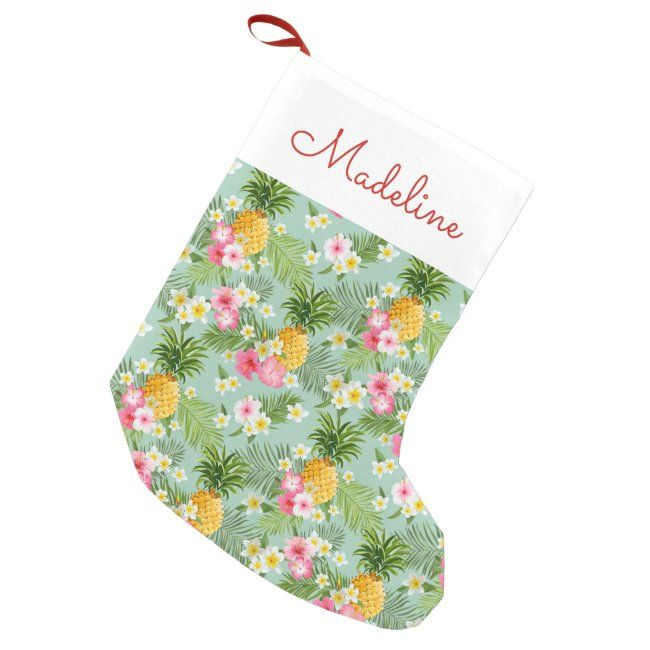 #promo Tropical Flowers & Pineapples   Add Your Name Small Christmas Stocking #zname #add #your #name #flower #SmallChristmasStocking #affiliatelink #christmasstocking