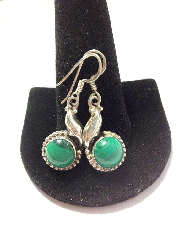 Navajo Malachite Earrings Sterling Silver 925 Green Stones ...