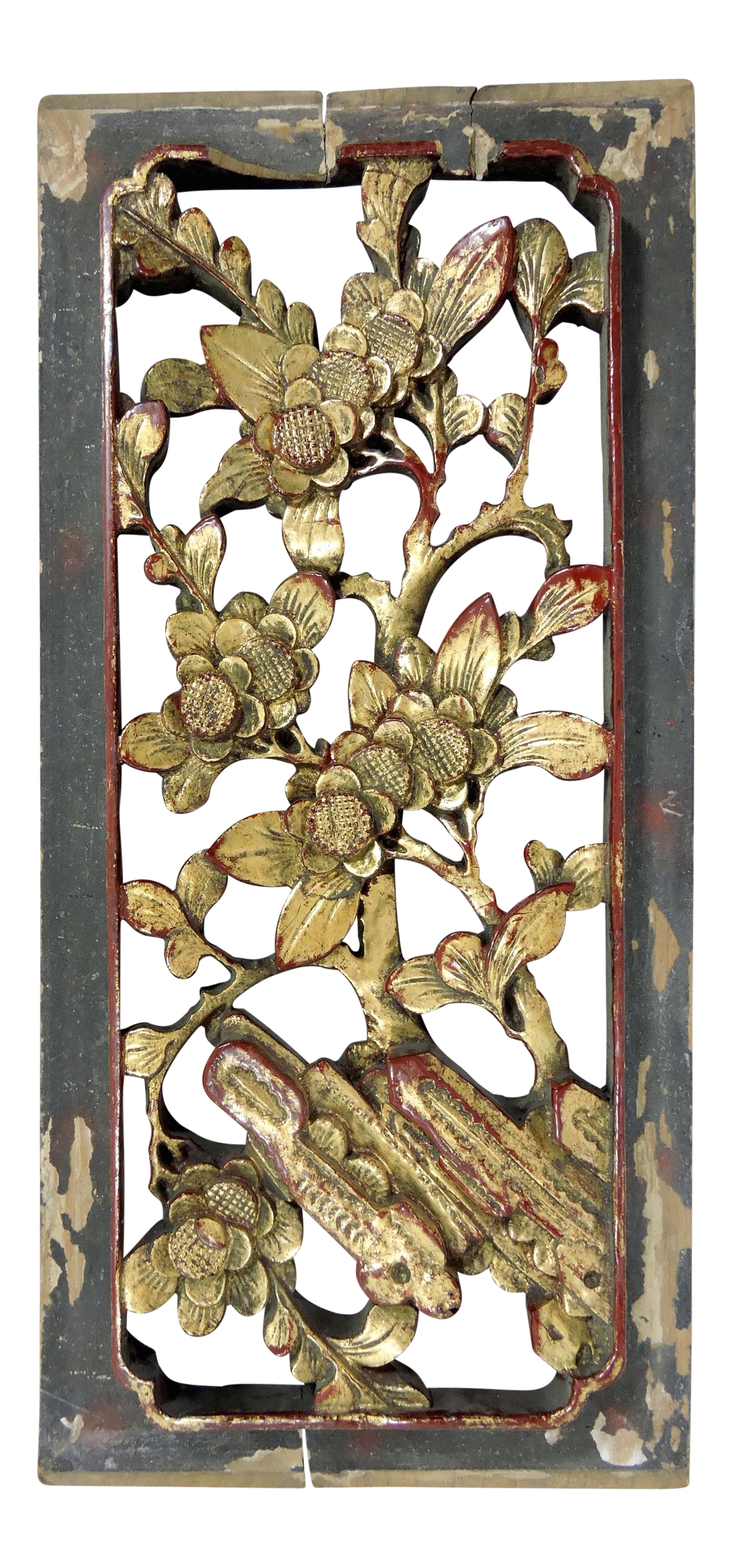 """Old Wood Wall Paneling: Antique Chinese Gold """"Cherry Blossom"""" Wood Wall Panel"""