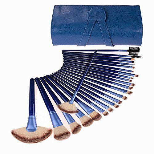 24 Piece Makeup Brushes Set | Horse Hair Professional Kabuki Makeup Brush Set Cosmetics Foundation Makeup Brushes Set Kits with Blue Case Bag *** Learn more @ http://www.amazon.com/gp/product/B010E4CJZK/?tag=makeuptips3-20&pfg=200816055144