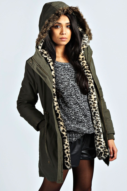 ae0a9c5b5d407 Becca Detachable Leopard Fur Lined Parka at boohoo.com | i like ...