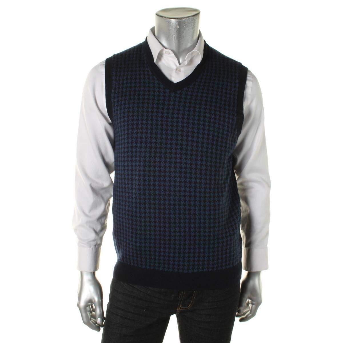 Club Room Mens Merino Wool Houndstooth Sweater Vest | Cardigans ...